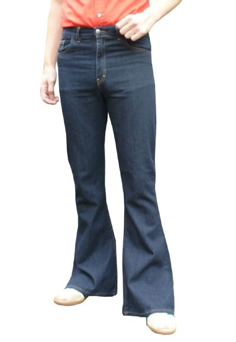 Classic High Rise - Bell Bottoms Flares Jeans Higher Waist (Indigo Blue Denim)